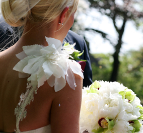 Image of beautiful bride with a bouquet
