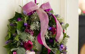 Beautifully decorated Christmas wreath